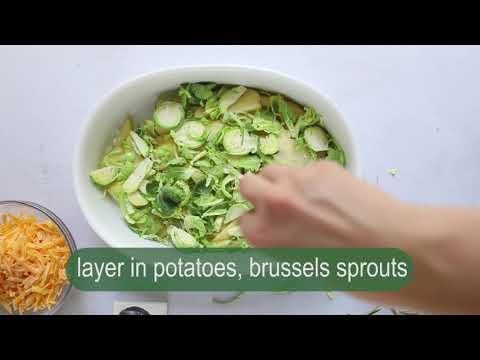 rustic potato & brussels sprouts au gratin