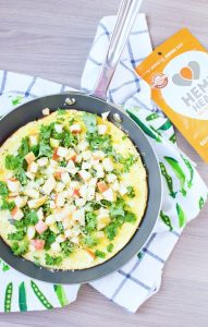 Apple and Sharp Cheddar Omelet in a pan