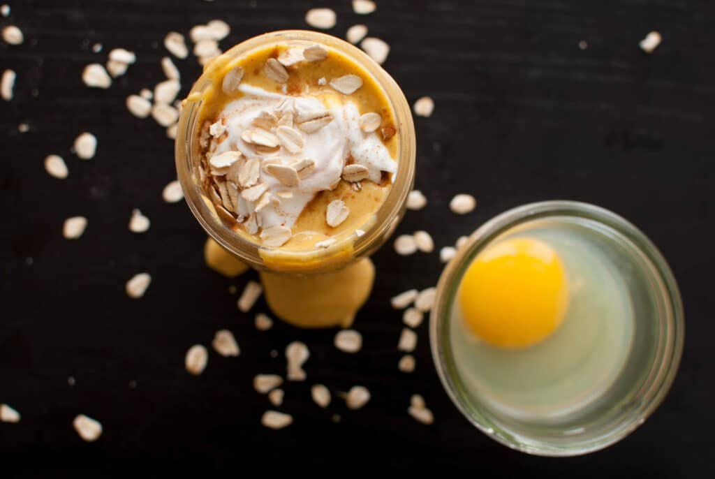 High Protein Pumpkin Pie Smoothie and an egg