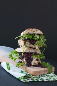 Grilled Turkey and Brie Sandwich on Cutting Board