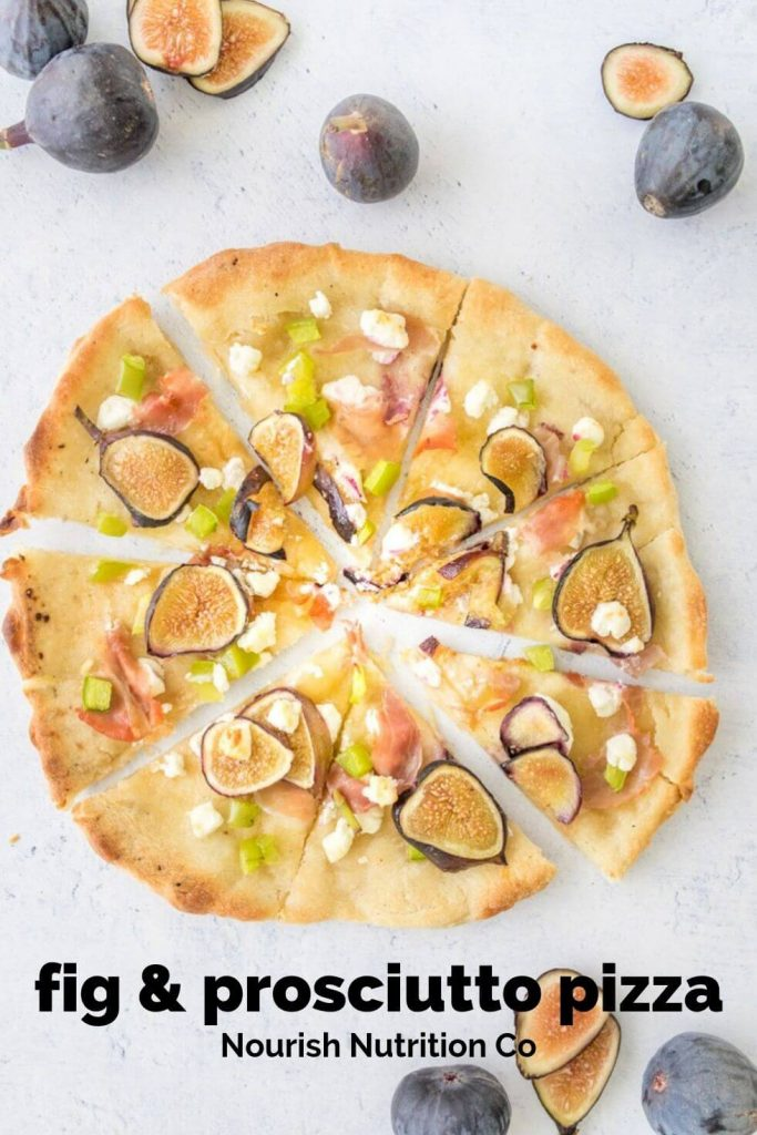 sliced fig and prosciutto pizza with figs and a text overlay