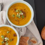 Curried Coconut & Pumpkin Soup with bread