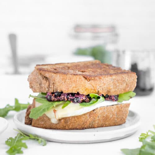 turkey and brie sandwich with blueberry mustard and arugula in it