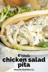 Chicken Salad Pita Sandwich on a white plate