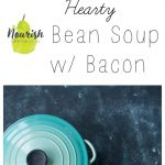 bean soup in bowls, a teal dutch oven with a text overlay