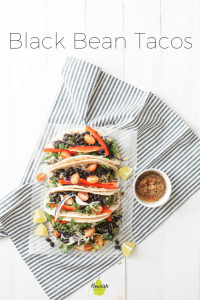 Black Bean Tacos with Salsa on Table