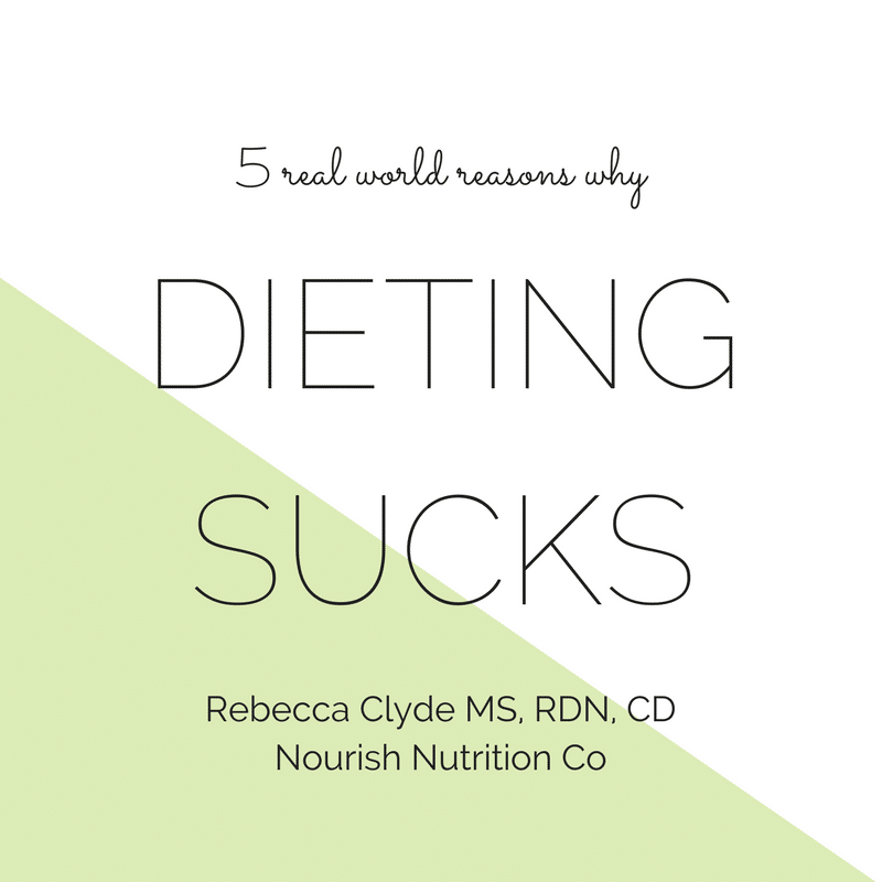 5 Reasons why Dieting Sucks text