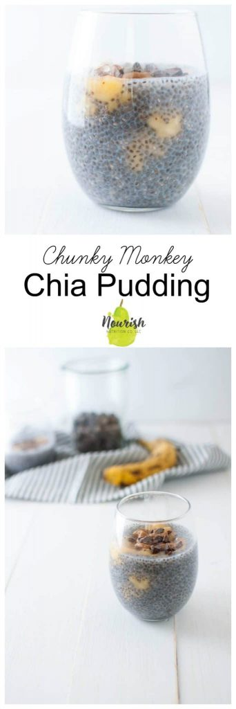 chia pudding with chocolate and peanut butter on top in a glass with ingredients in the background