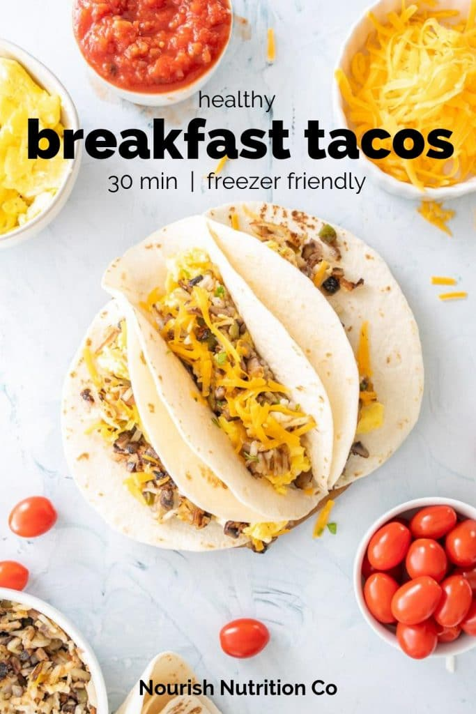 healthy breakfast tacos on a plate with text overlay
