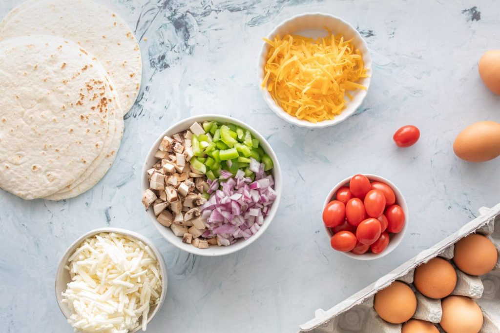 ingredients for healthy breakfast tacos on a table