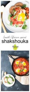 South African spiced Shakshuka in a skillet and on toast