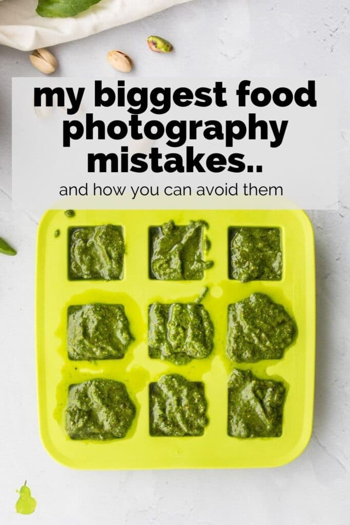 9 cubes of pesto in a green ice tray with text overlay