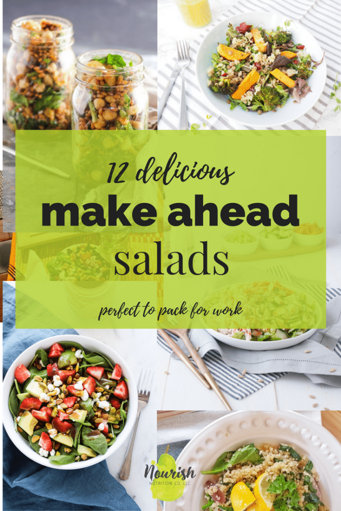 photos of salads with text overlay
