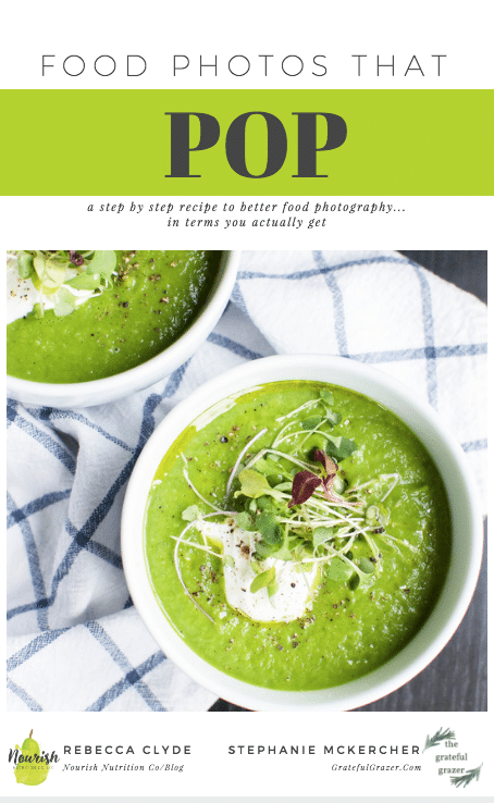 asparagus soup on cover of food photography eBook