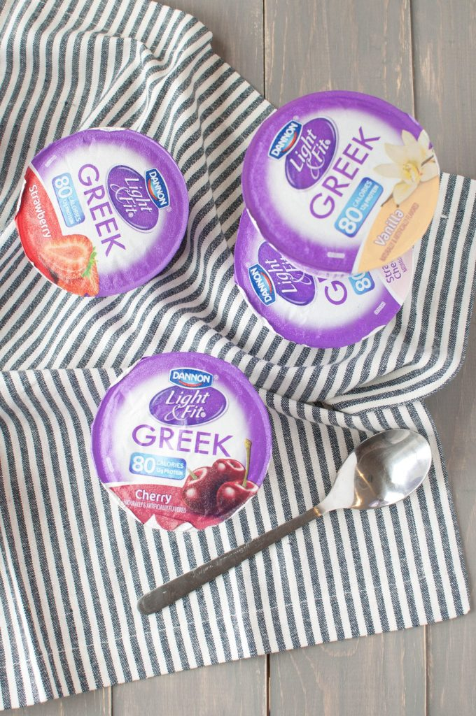 Dannon Light & Fit Greek yogurt on a table