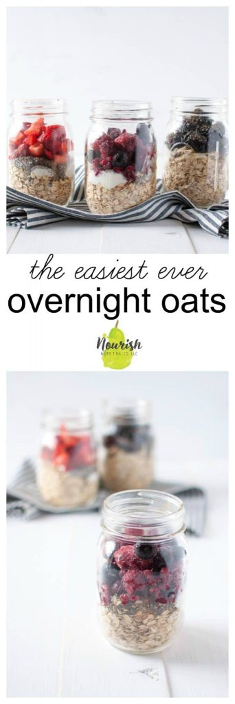 overnight oats with Greek yogurt in glass jars with fruit