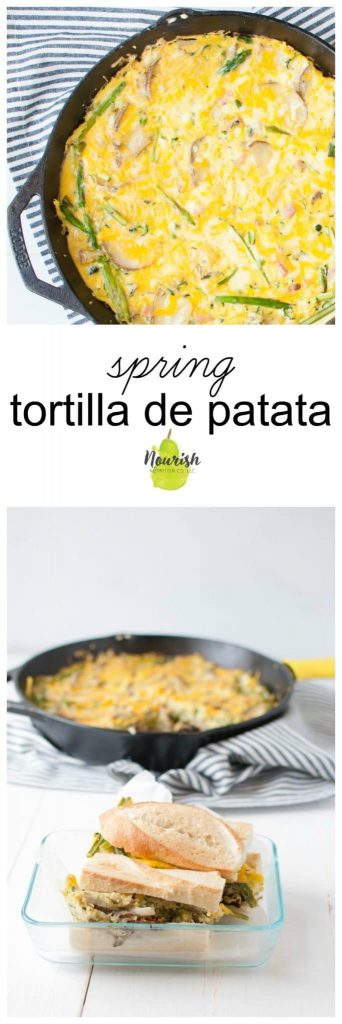 Spring Tortilla de Patata Sandwich in a glass bowl and tortilla de patata in a cast iron skillet with text overlay