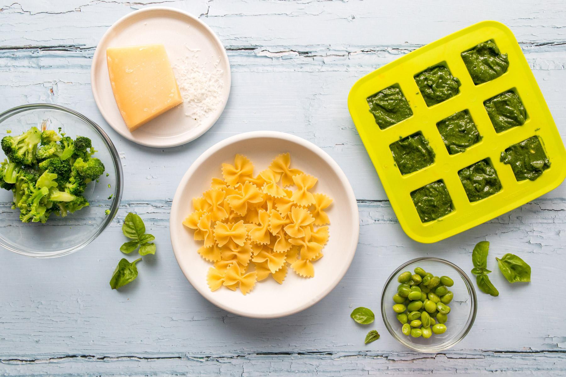pesto pasta ingredients on a table