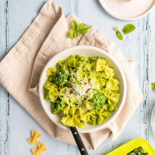 Spring Green Pesto Pasta in two bowls