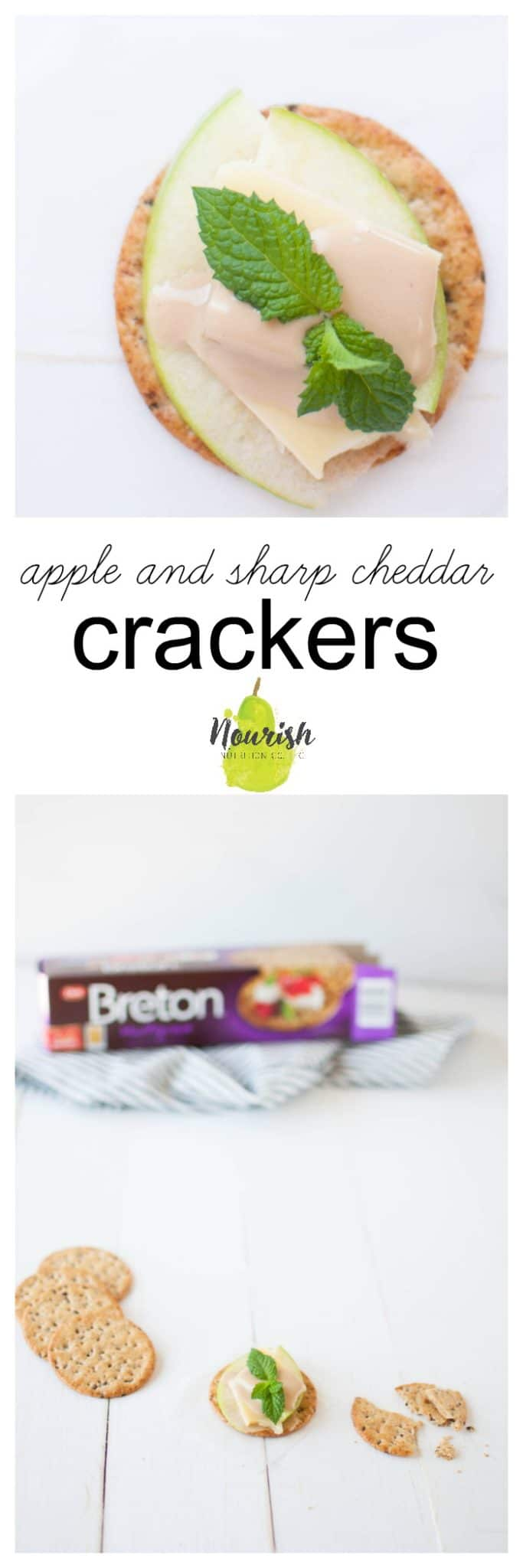 Apple and Sharp Cheddar Crackers on table with Brenton cracker box and text overlay
