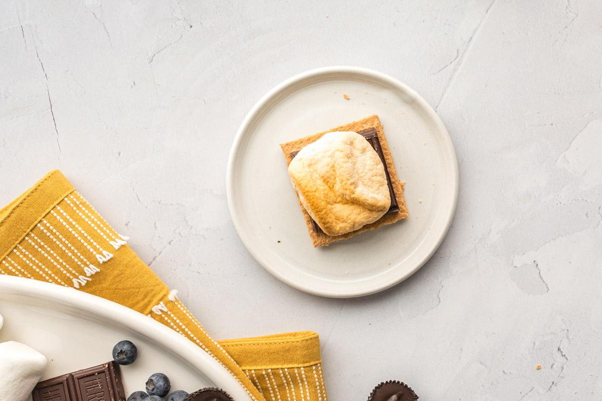 toasted marshmallow on chocolate on a graham cracker