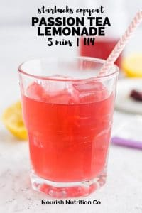 passion tea lemonade in a glass with text overlay
