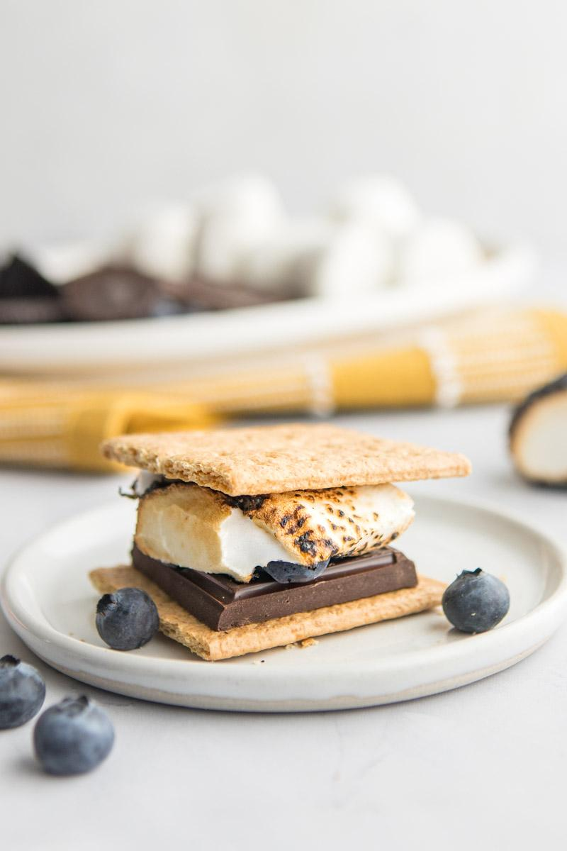 s'more on a white plate with blueberries on it