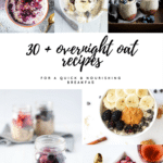 multiple photos of overnight oatmeal with text overlay