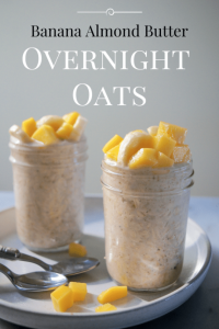 overnight oats in glass jar with fruit