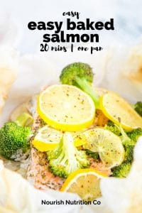 salmon, lemon slices, and broccoli in parchment paper with text overlay
