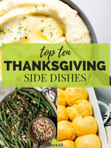multiple Thanksgiving side dishes with text overlay in the center