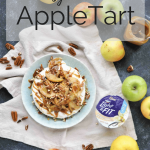 no bake apple tart with an apple and pecan topping with the ingredients surrounding the tart and a text overlay