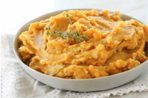 mashed sweet potatoes in a bowl via zen and spice blog
