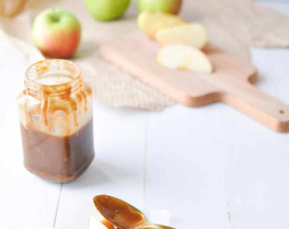Caramel Sauce on Spoon with Apples