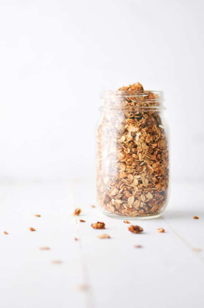 Peanut Butter Granola in Glass Jar