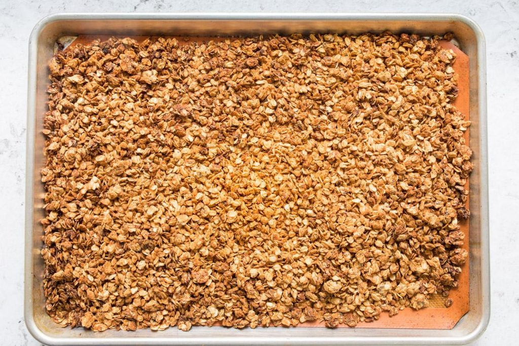 Peanut Butter Granola on Pan