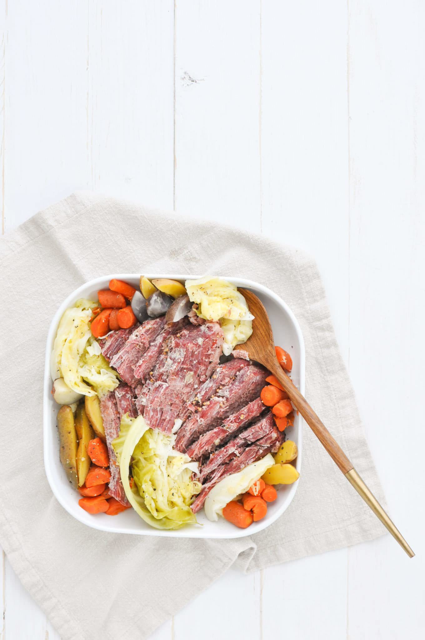 Corned Beef and Cabbage on Plate with Serving Spoon