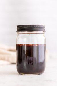 pomegranate balsamic vinegar in a mason jar