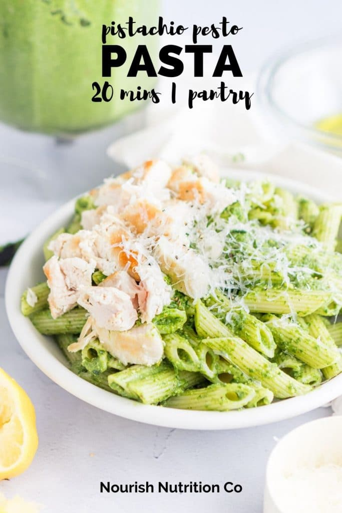 pinterest image of pistachio pasta with text overlay