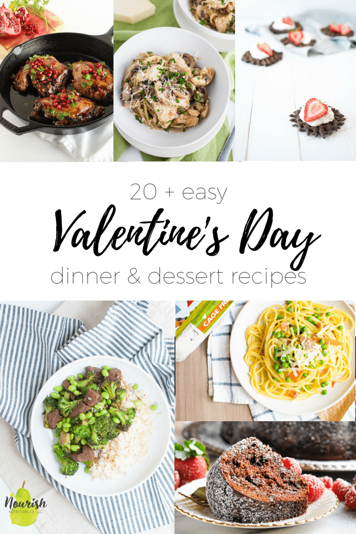 six images of valentines day dishes with a text overlay