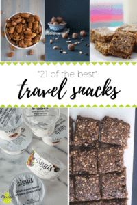 pictures of travel snacks with text overlay