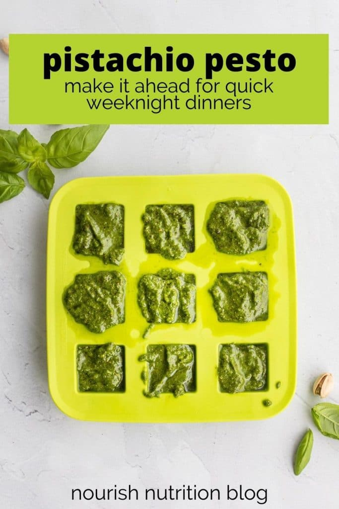 pistachio pesto sauce in ice cube tray with text overlay