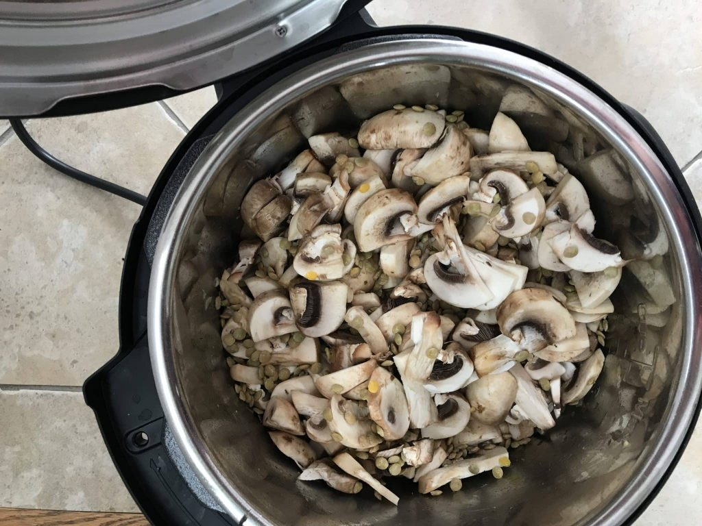 Mushrooms, onions, and lentils in an Instant Pot