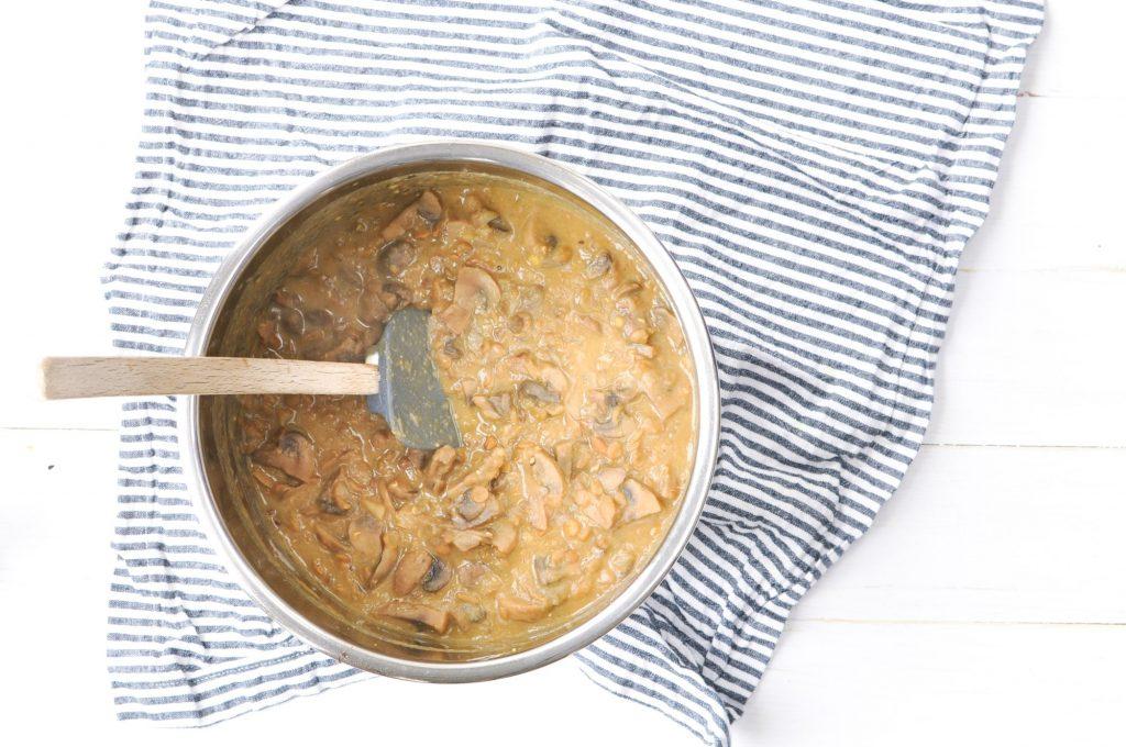 Lentil stroganoff in aluminum bowl for Instant Pot lentil stroganoff
