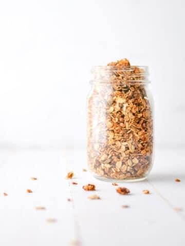 Peanut Butter Granola in Glass Jar