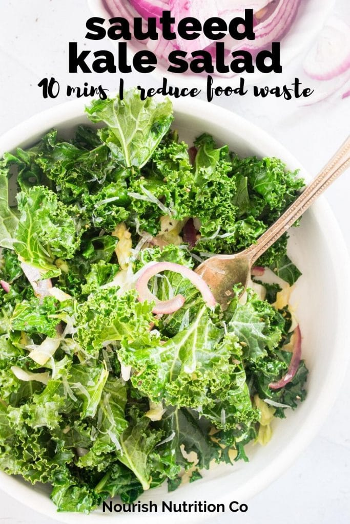 sauteed kale salad on plate with text overlay
