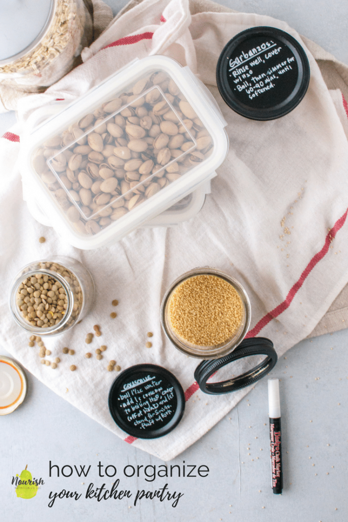 overhead shot of grains in jars with lids
