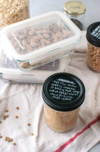 jars of grains with instructions on lids