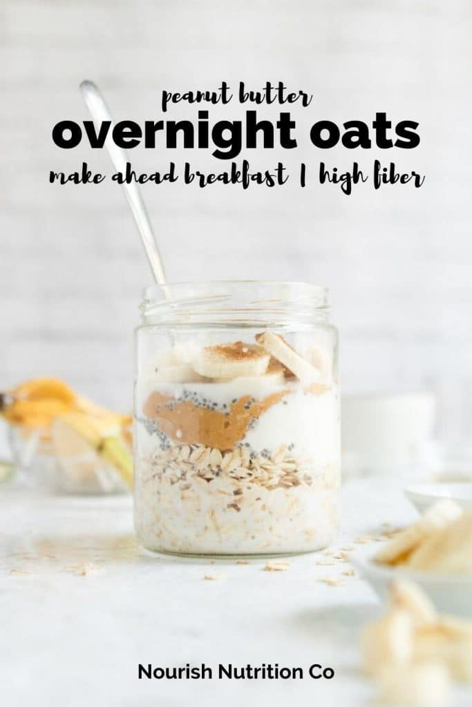 peanut butter banana overnight oats in a jar with a banana and text overlay