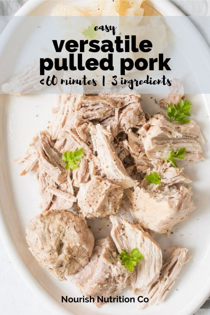 instant pot pulled pork sandwiches with coleslaw on a plate with pineapple and a text overlay